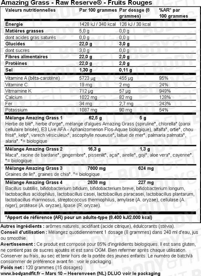 Poudre Raw Reserve Nutritional Information 1