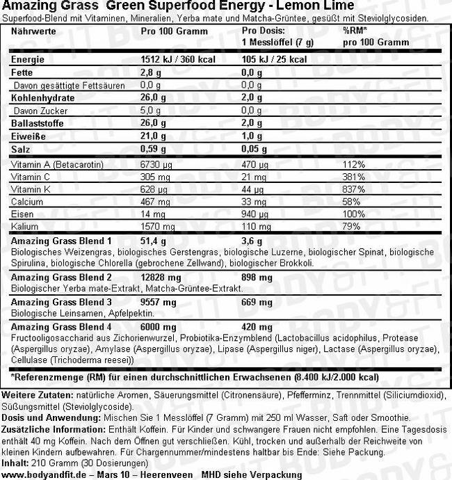 Green Superfood Energy Nutritional Information 1
