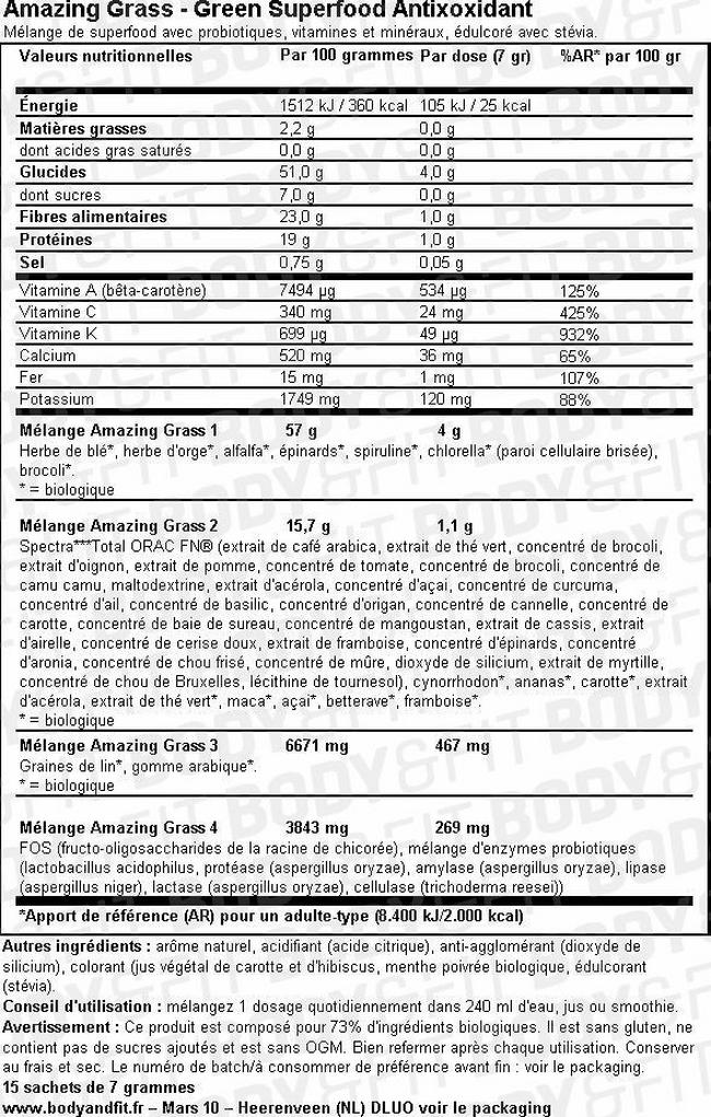 Green Superfood Antioxidant Nutritional Information 1