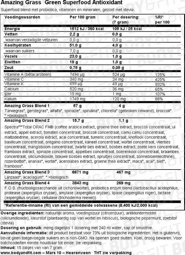 Green Superfood Antioxidant Nutritional Information 1