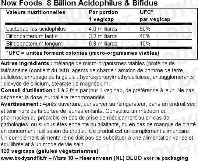 Gélules probiotiques végétaliennes 8Billion Acidophilus Nutritional Information 1