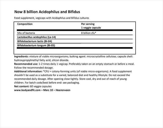 8ビリオンアシドフィルス Nutritional Information 1