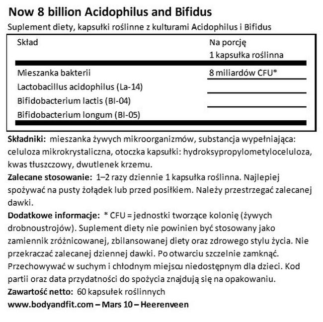 8 Billion Acidophilus Nutritional Information 1