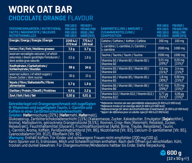 Work Oat Bar Nutritional Information 1