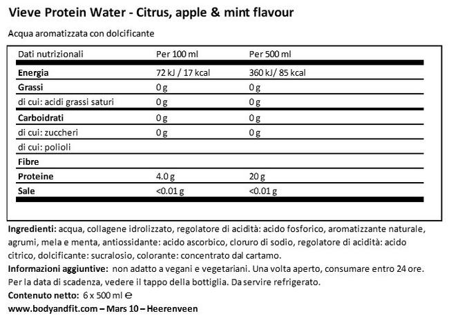 Protein Water Nutritional Information 1