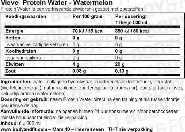 Vieve Protein Water Nutritional Information 1