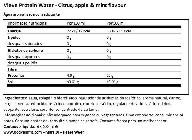 Água de proteínas Nutritional Information 1