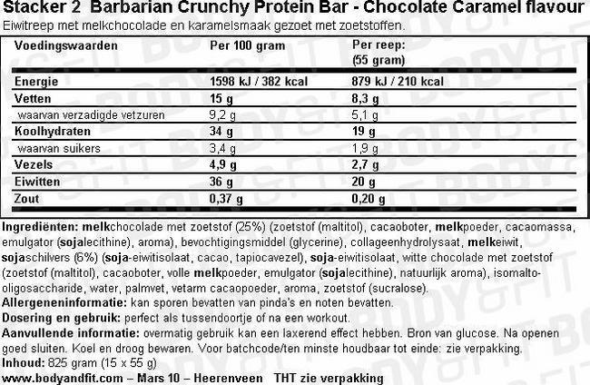 Barres protéinées craquantes Barbarian Nutritional Information 1