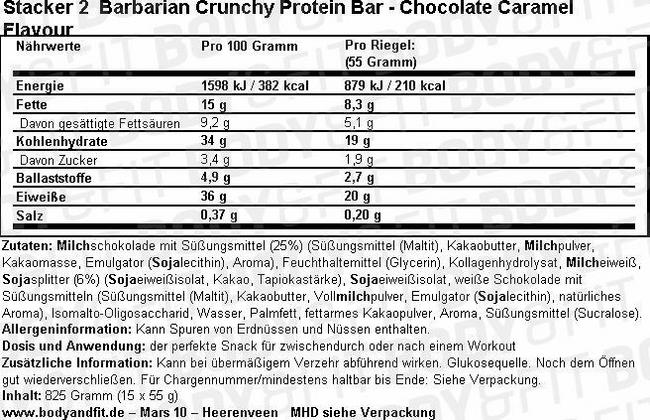 Barres protéinées craquantes Barbarian Nutritional Information 2