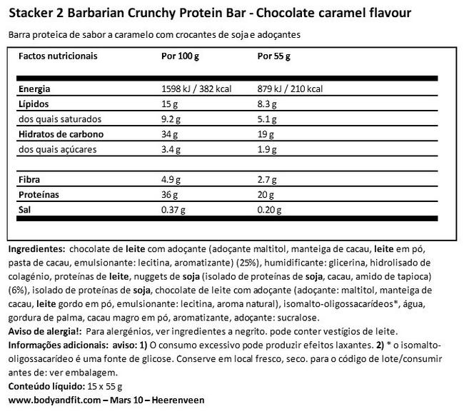 Barra de proteínas estaladiça Barbarian Nutritional Information 1