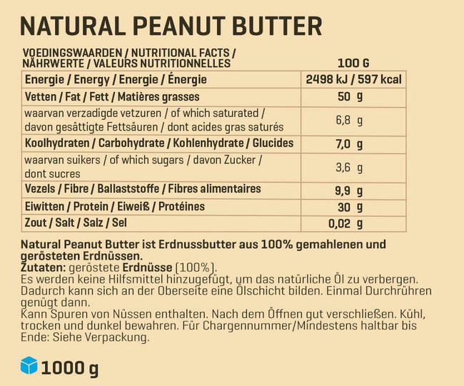 Natural Peanut Butter 1 kg Nutritional Information 1