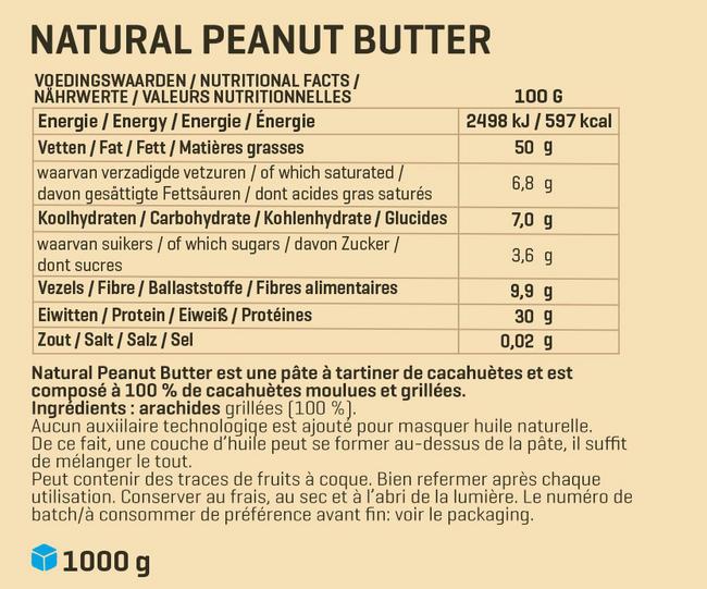 Beurre de cacahuètes 1 kg Nutritional Information 1