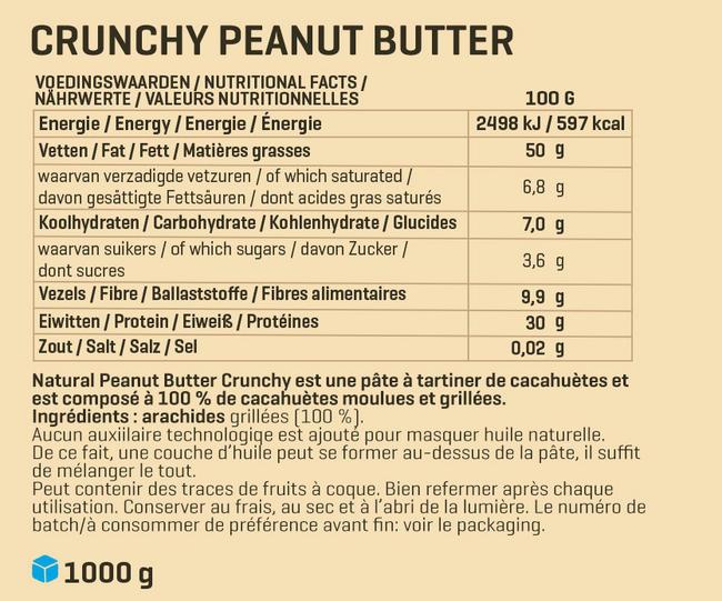 Beurre de cacahuètes 1 kg Nutritional Information 2