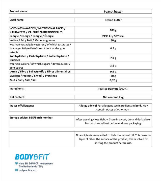 ナチュラル ピーナッツバター 1kg Nutritional Information 1