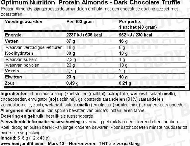 Amandes Protéinées Nutritional Information 1