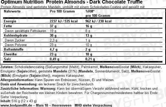 Amandes Protéinées Nutritional Information 2