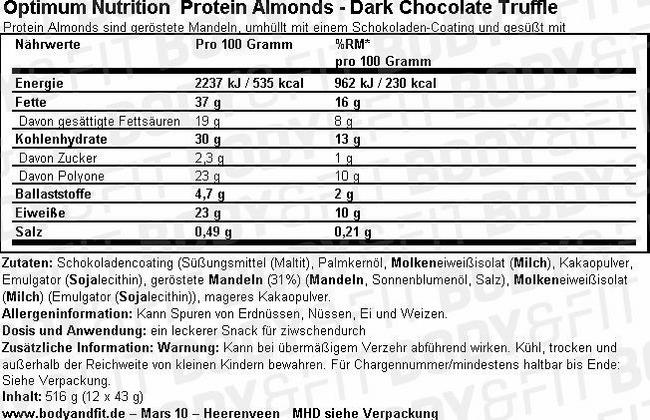 Protein Almonds Nutritional Information 1