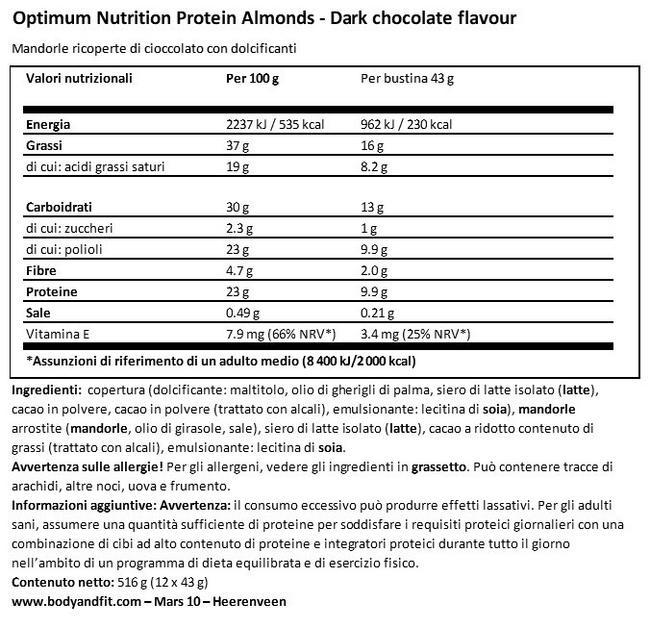 Mandorle Proteiche Nutritional Information 1