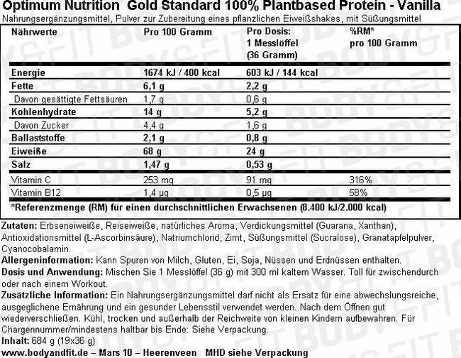 Gold Standard 100% Plant-based Protein Nutritional Information 1