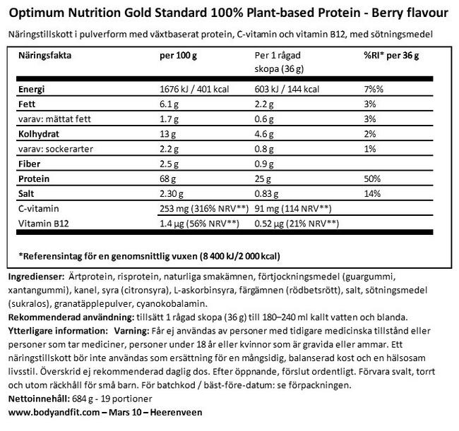 Gold Standard 100% Plant Based Protein Nutritional Information 1