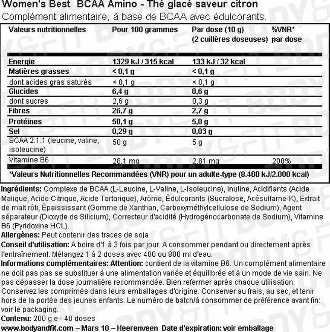 Pourdre BCAA Amino Nutritional Information 1