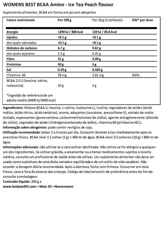 BCAA Amino Nutritional Information 1