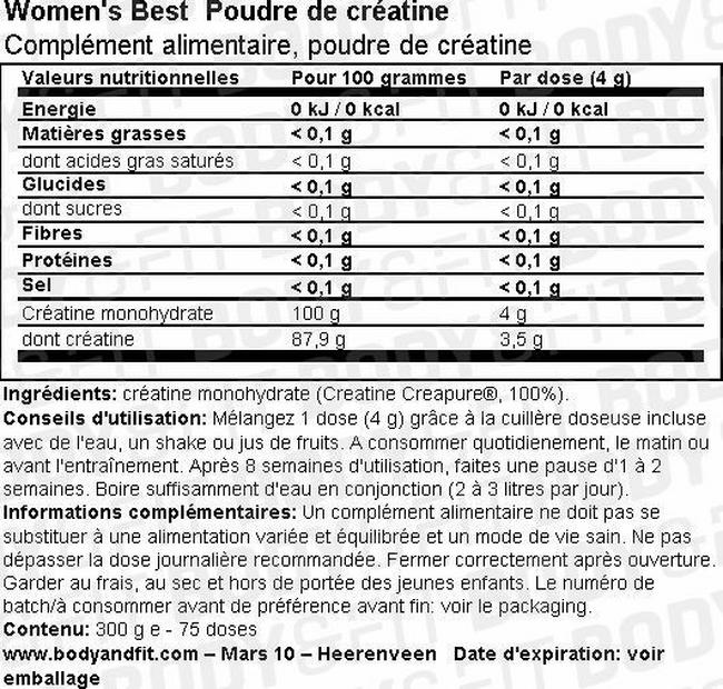 Créatine Creapure® Nutritional Information 1