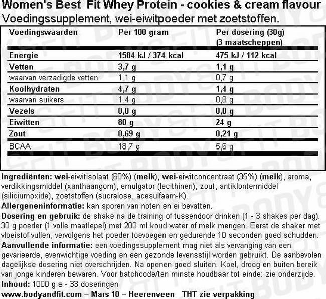 Fit Whey Protein Nutritional Information 1
