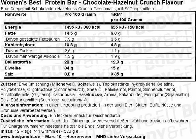 Protein Bar Nutritional Information 1