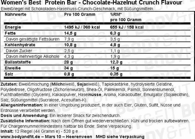 Protein Bar - Box (12X44g) Nutritional Information 1