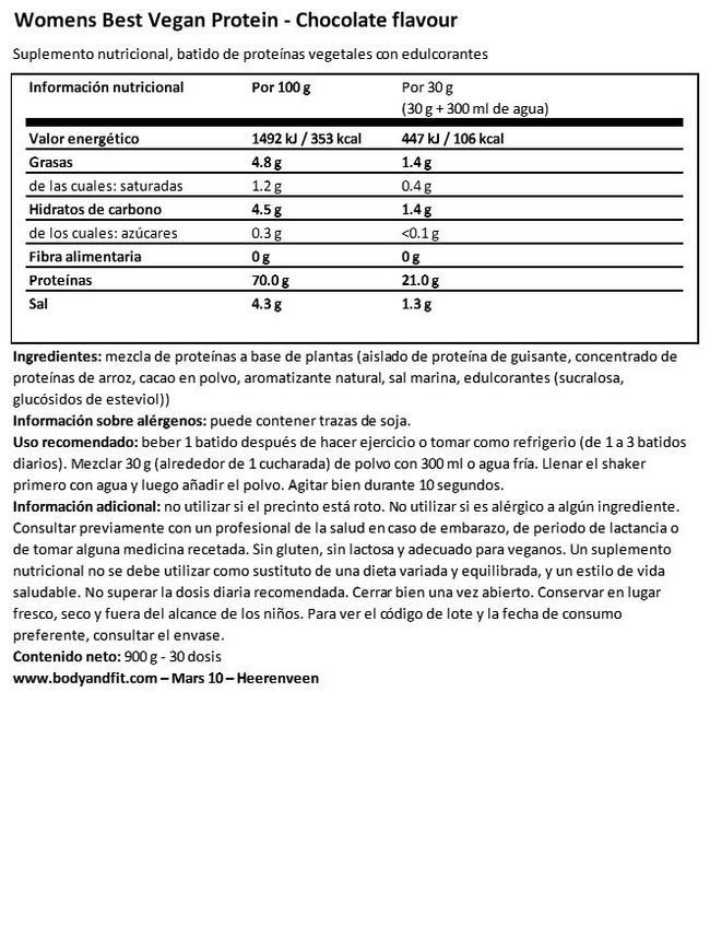Vegan Protein Nutritional Information 1