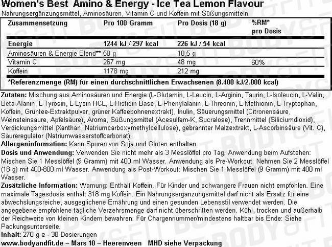 Amino & Energy Nutritional Information 1