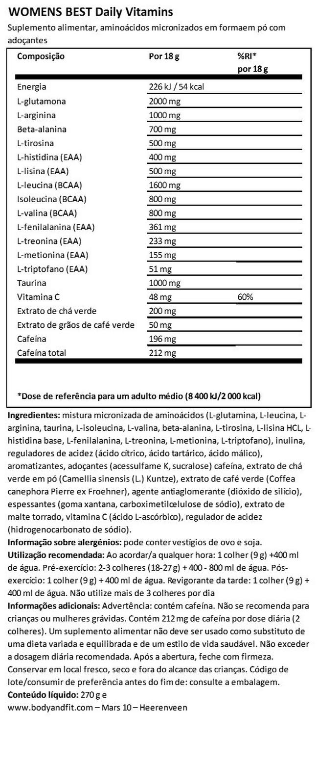 Amino & Energy Nutritional Information 1