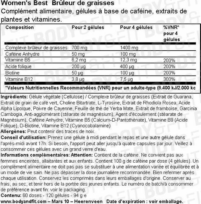Brûleur de graisses Burner Capsules Nutritional Information 1