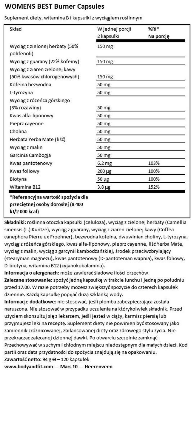 Kapsułki Burner Capsules Nutritional Information 1