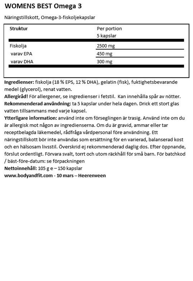 Omega 3 Nutritional Information 1