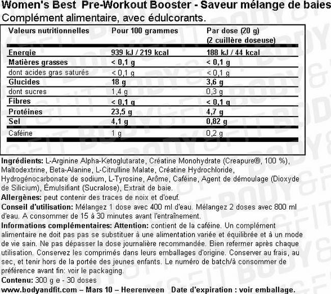 Pre Workout Booster Nutritional Information 1