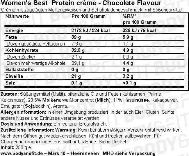 Protein Crème Nutritional Information 1