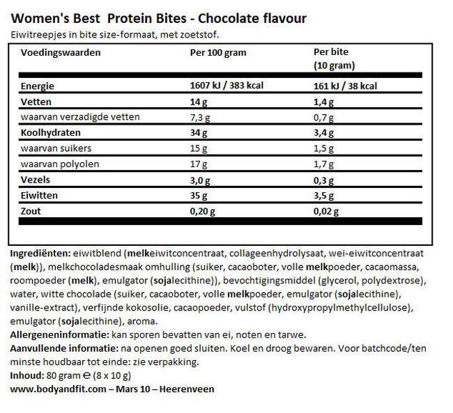 Protein Bites Nutritional Information 1