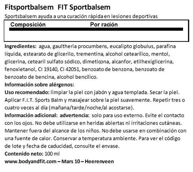 Bálsamo Para Lesiones Deportivas Nutritional Information 1