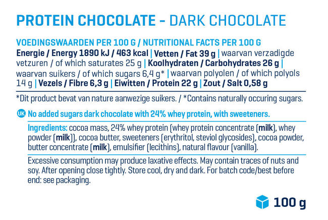 Protein Chocolate Nutritional Information 1