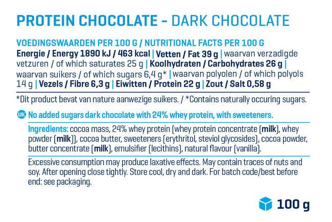 プロテイン チョコレート Nutritional Information 1