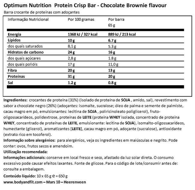 Protein Crisp Bar Nutritional Information 1