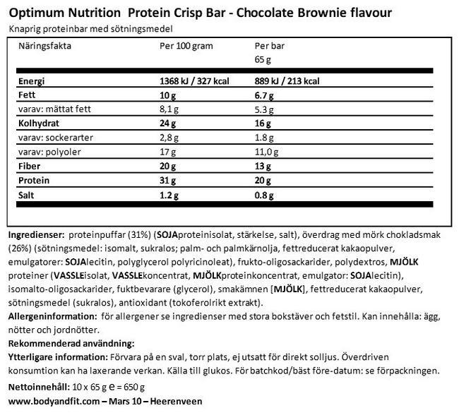 Protein Crisp Bar Nutritional Information 1