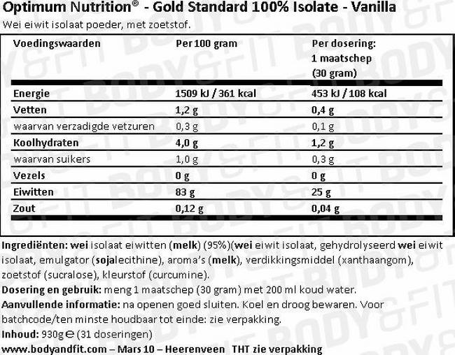 Gold Standard 100% Isolate Nutritional Information 1