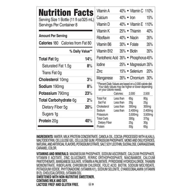 SlimFast Ready-to-Drink Shakes Nutritional Information 1