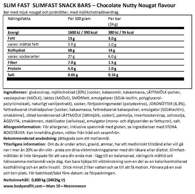 SlimFast Snack Bars Nutritional Information 1