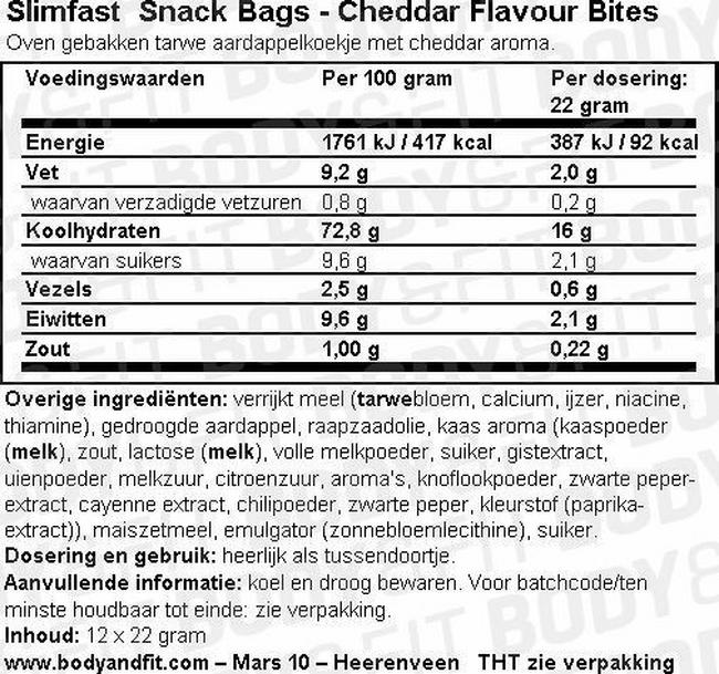 SlimFast Snack Bags Nutritional Information 1