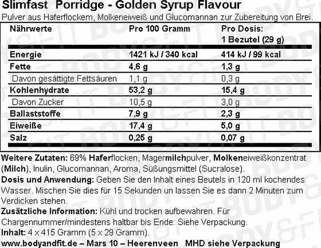 SlimFast Golden Syrup Porridge Nutritional Information 1