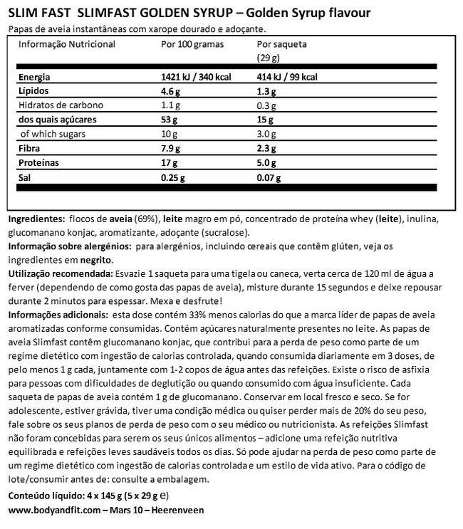 SlimFast Golden Syrup Nutritional Information 1
